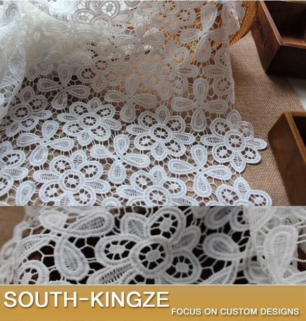 Wholesale and retail Unique Net white flower Cotton embroidered lace guipure fabric for party women dress DIY