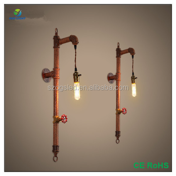 Modern industrial style retro indoor water pipe light wall lamp