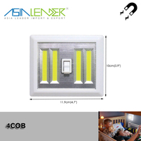 4*AAA With Magnet and Sticker Dual 4W COB 300LM LED Wireless Night Light With Switch