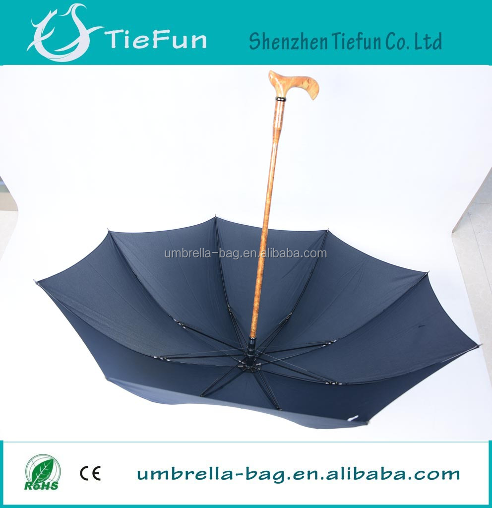top quality auto open walking stick old man umbrella with shoulder strap