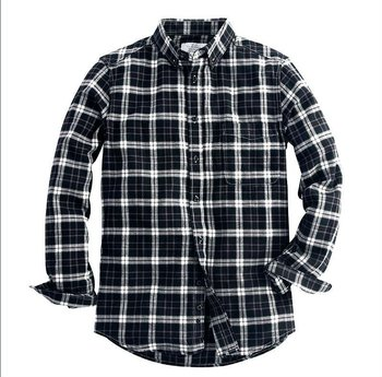 Flannel white and black plaid shirts for men tartan vintage shirts wholesale shirts