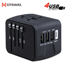 2018 Business Gift multi plug world international Universal Travel Adaptor with 4 USB Type C adapter