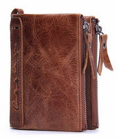 Leather clutch bag for men with double zippers genuine leather slim wallet