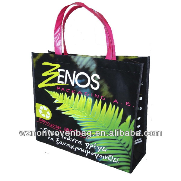 2016 Custom Recycle film laminated carry promotion 80g non woven custom tote bags with logo