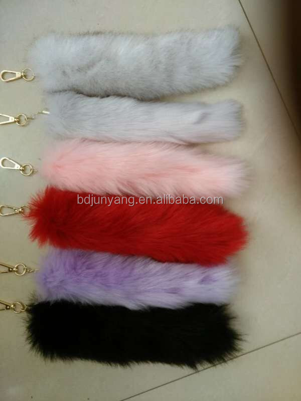 100% genuine fox tail fur keychain/animal fur tails/bag charm