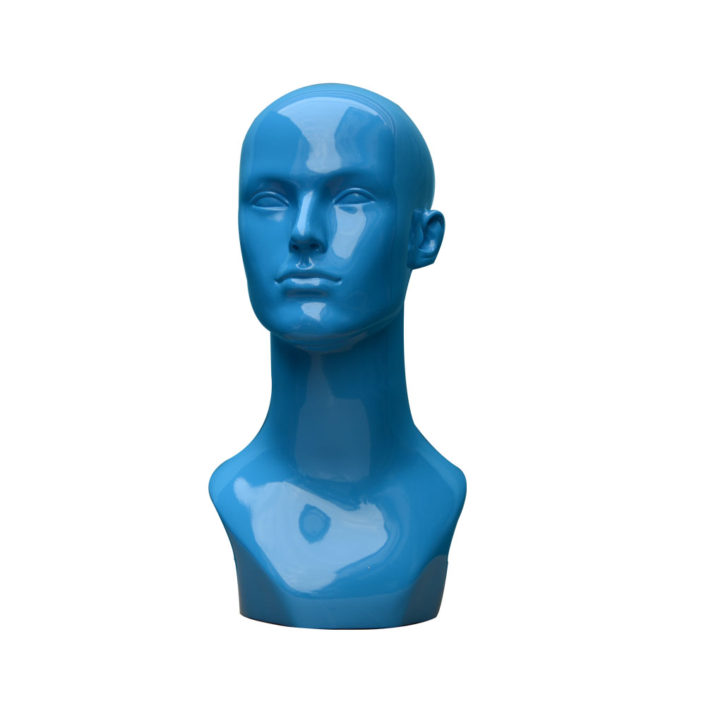 adstract face fiberglass wigs display blue head mannequin