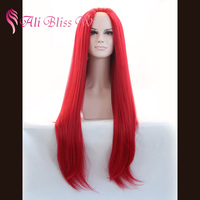 Wholesale Cheap Fashion Heat Resistant Fiber Hair 24 Inches Long Silky Straight Red Cosplay Synthetic Lace Front Wig for Women