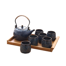 Antique Japanese Porcelain Tea Set With 6 Cups and Wooden Tray
