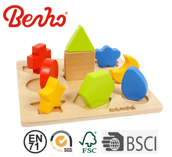 Coloful Shape Geometric Sorter Blocks Wooden Educational Toys