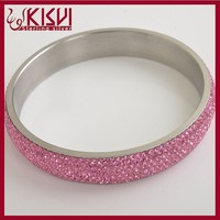high fashional design stainless steel bangle with diamonds