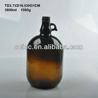 Glass amber growler bottle 4L
