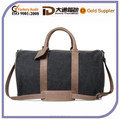 Unisex Durable Shoulder Strap 100% Cotton Travel Bag With Leather Handle And Trim
