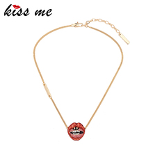 Red Enamel Lips Gold Chain Jewellery Pendant Friend Necklaces