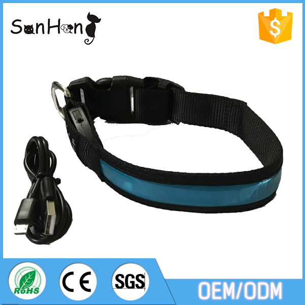 Led flash up growing USB recharging dog collar