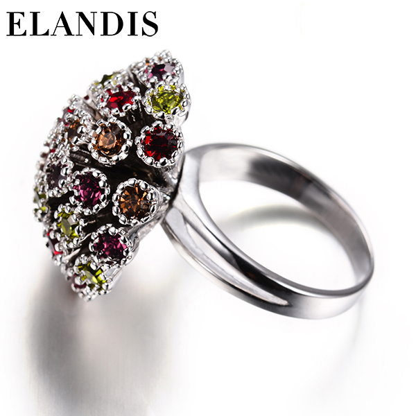 Fashion zircon copper ring wholesale copper funny & funky finger flower ring