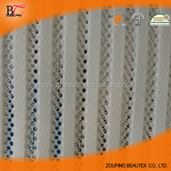 Factory selling white strip mesh fabric for clothes making