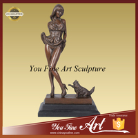 China Supplier Life Size Bronze Nude Girl statue With Cat Statue