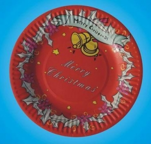 Disposable round paper plate with print