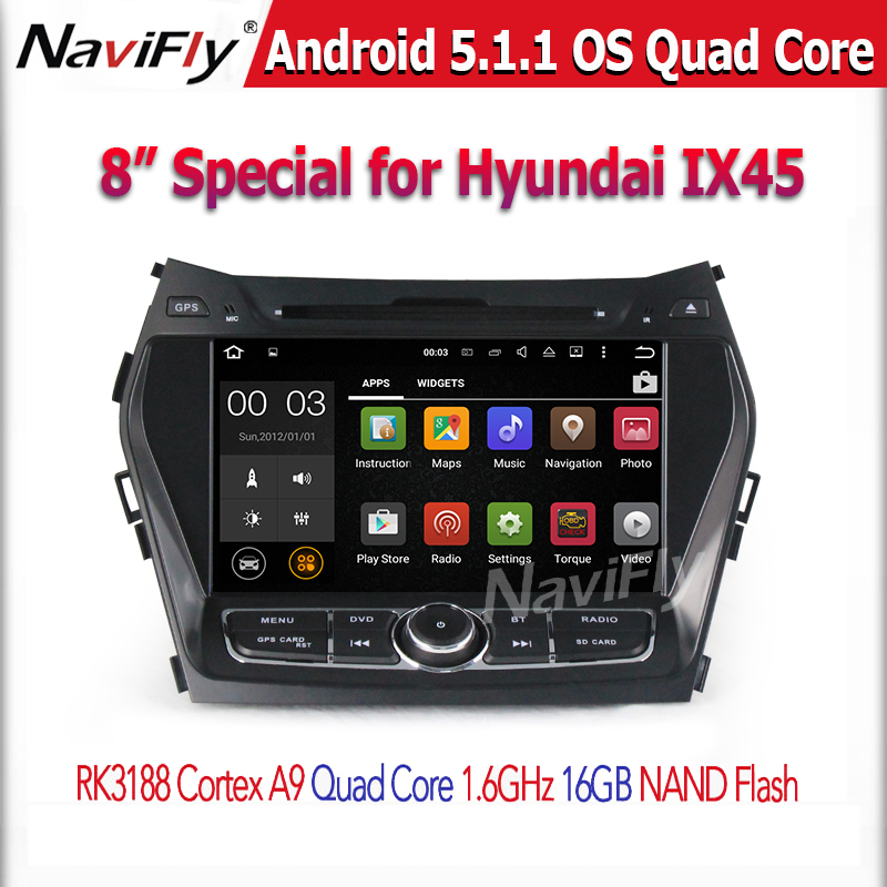 Hyundai IX45 2013-2014 / Santa Fe 2013-2014 DVD CAR AUDIO NAVIGATION SYSTEM with Android 5.1 Quad core HD WIFI/BT/DVD/GPS/RADIO
