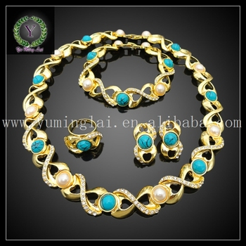 Wholesale fashion gold plated beautiful color jewelry sets rhinestone pearl jewelry sets for women