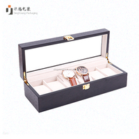Wooden Matt Watch Box Six Slot Watch Storage Case For Standard Watch Clear Glass Window Lid