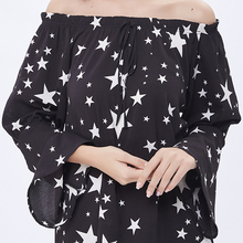 ladies western star design long off shoulder top printed woman Flare Sleeve blouse