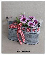 Handmade Old Aged Wooden Rectangular Flower Pot with Writing