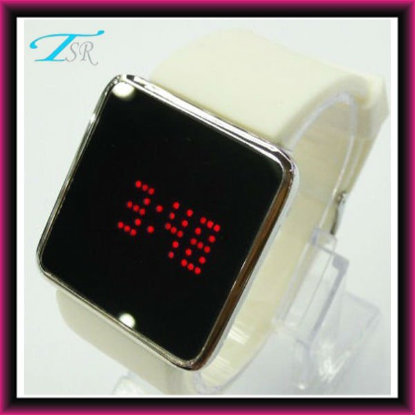 Pure white silicone rubber wristband watch for sale