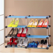 Free Standing 6 Cubes Blue Color Stylish Shoe Cabinet