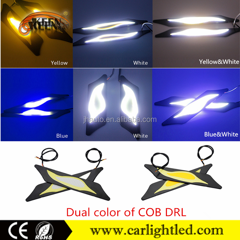 KEEN 12V 2x6W hotsale dual color white yellow ice blue drl turn light cob LED daytime running light for all cars