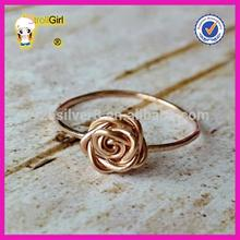 Hot sale Rose ring 14k rose gold plated flower shape knot ring