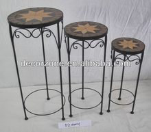 mosaic top wrought iron plant pot holder stand
