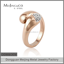 18k Rose Gold Plated Czech Crystal Engagement Ring For Women