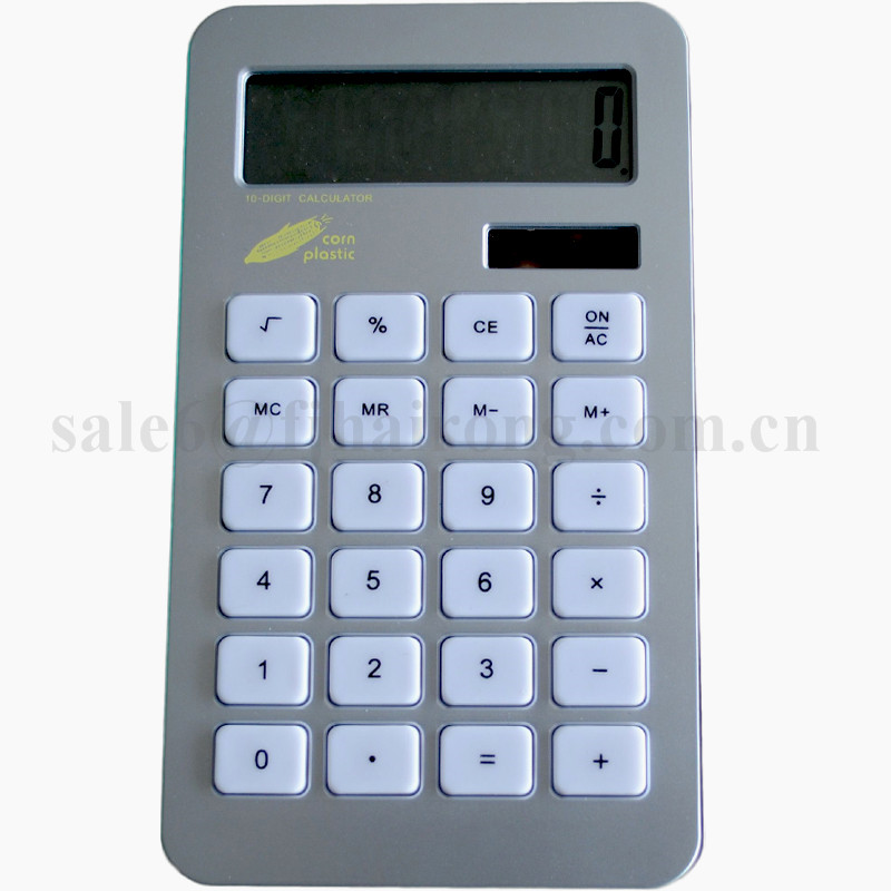 2017 Promotion Gift Ultra-thin 10 Digits Corn Plastic Solar Dual Power Calculator
