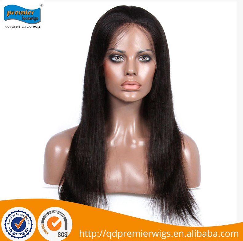 180% density natural 18 inch straight remy brazilian full lace human hair wigs