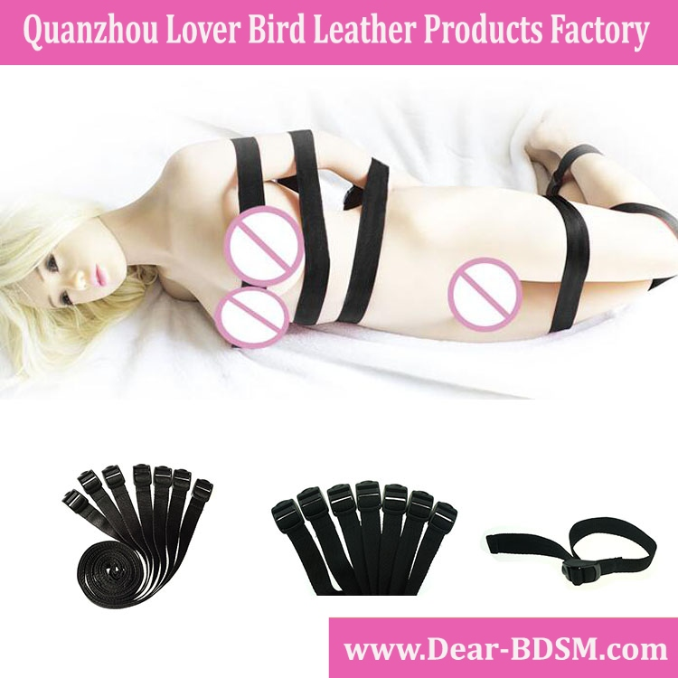 7pcs Nylon Straps Tight Handcuffs And Leg Irons Full Body Bandage Restraint Slave Sex Toys For Couple Adult Games Sex Furniture