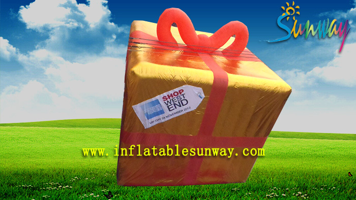 Golden Color Customed Inflatable Gift Box , inflatable gift box model