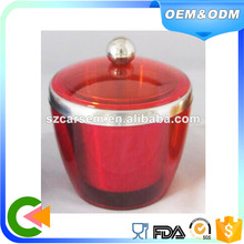 Latest technology plastic stainless steel ice bucket coolers red color with lid