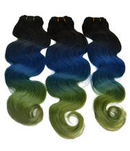 New Arrival Top Quality 100% Human Hair Ombre Brazilian Virgin Hair ,Black/ Blue/Green Color Hair Extension