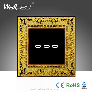 New Arrival UK Wallpad Brown Zinc Alloy Switch Panel 3 Gangs 2 Way Soft Touch Screen Sensive Electric LED Wall Light Switches