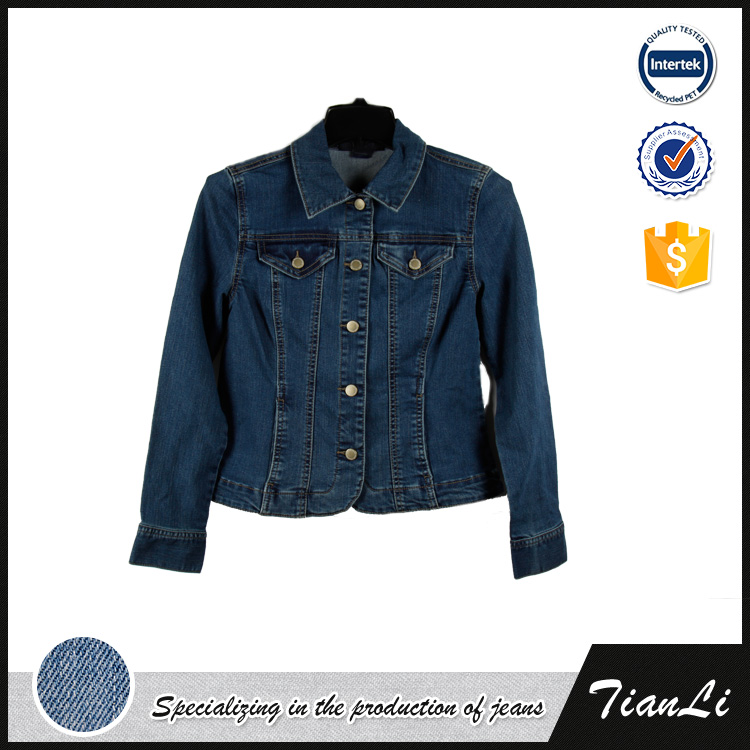 New design custom used manufacturer ultra thin sexy ladies denim jean jacket