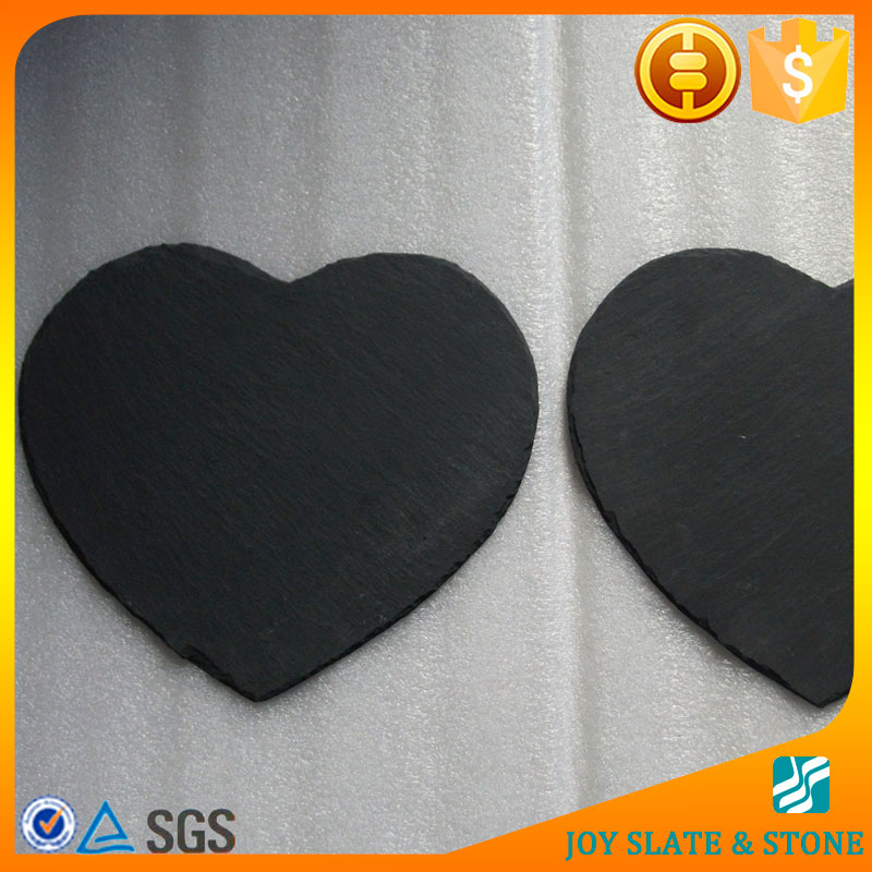 Black heart shaped slate stone catering dinner plates