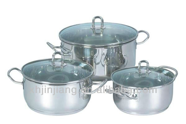 JJs-cw300 6cps durable stainless steel kitchenware casseroles set with glass lid