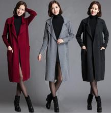2016 New Autumn winter outfit long red women knitting cardigan sweater coat