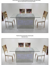 New design colour light stainless steel tables and chair