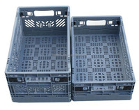 China Blue Plastic Foldable Container Box,Sale Folding Mesh Crate, Plastic Folding Crate