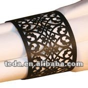 BLACK FILIGREE Elegant Laser Lace Paper Napkin Rings Holders for Wedding & Party