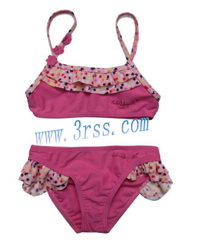 Hot sexy children bathing suit short-sleeve lovely pink bikini swimwear
