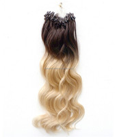 6A Grade Ombre Fashion Keratin Fusion Loop Tip Hair 100% Cheap Indian Remy Micro Loop Ring Human Hair Extension 1g