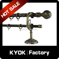 KYOK Home decorative iron rod 16mm,fancy curtain rod price,wooden curtain rod set